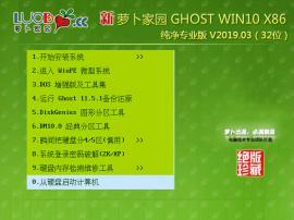 萝卜家园Win10 32位纯净专业版系统 V2019.03