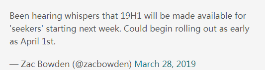 Windows10 19H1更新逼近,微软表示1809版已经准备妥当了