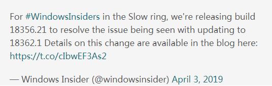 另辟蹊径:微软推出Windows10 19H1(18356.21)版本