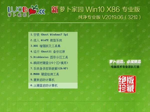 萝卜家园 win10 32位纯净专业版 V2019.06